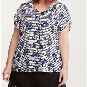White and Black with Blue Floral Top